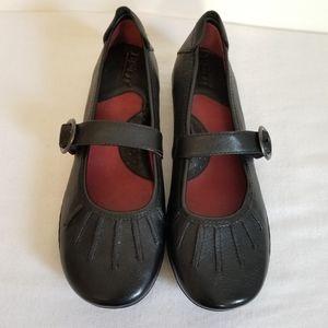 Born Carlisle Black Leather Mary Jane Flats